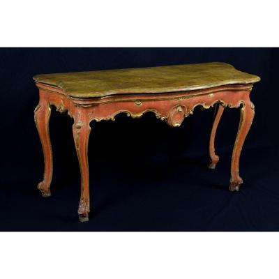 18th Century, Italian Baroque Wood Laquered Consolle