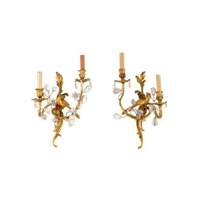 19th Century Pair Of French Two-light Gilt Bronze And Rock Crystal Sconces By Maison Baguès