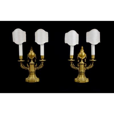 19th Century, Pair Of French Two Lights Gilt Bronze Candlesticks