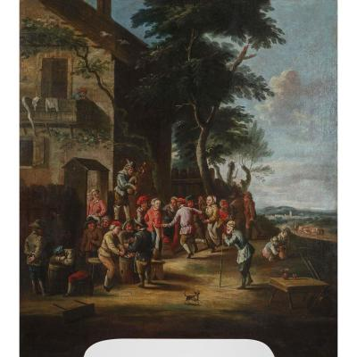 École Piémontaise Du Milieu Du XVIIIe Siècle, Paysans Dansant Devant L'auberge, Huile Sur Toile