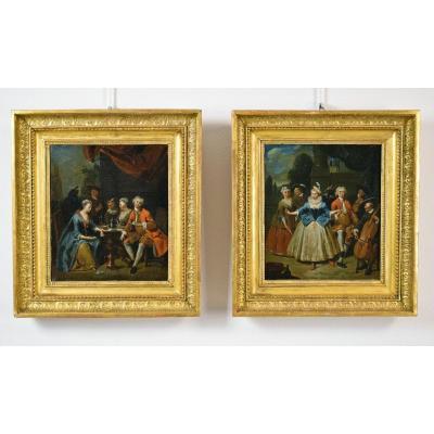 Jan Baptist Lambrechts, banquet et scène de danse, début XVIIIe siècle