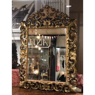 Style 17th Century Golden Wood Mirror.