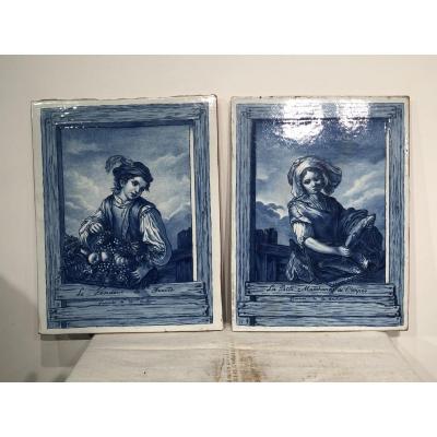 Pair Of Portraits On Glazed Ceramic Tiles
