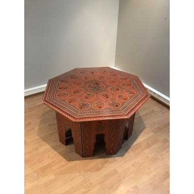 Large Octogonal Table In Red Lacquer. Burma Early 20th Century.