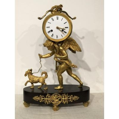 Cupid  Clock In Gilt Bronze Early 19th.