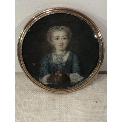 Miniature XVIII ème, Jeune Fille Au Manchon.