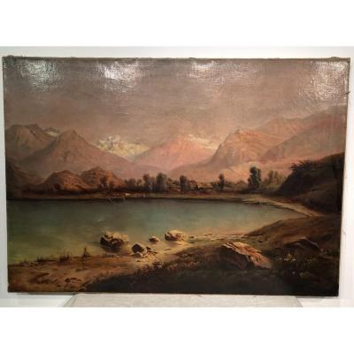 Painting «view Of Mont Blanc» By E. Porte. XIXeme.