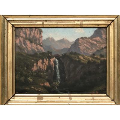 Montain Painting By César Durand. XIXeme.