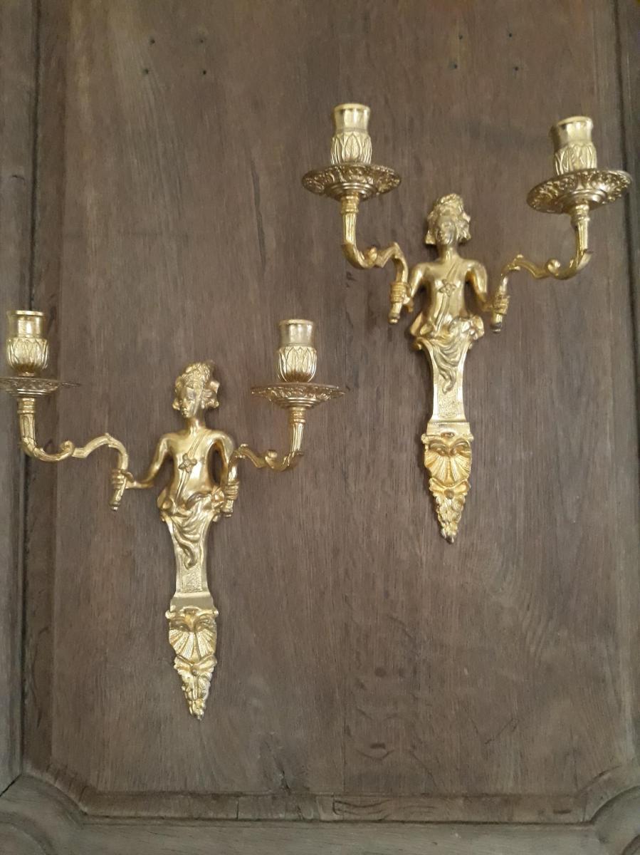 Paire d'Appliques Style Régence En Bronze Doré