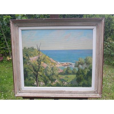 """Solenzara"" Corse. Huile sur isorel par Louis Rollet 1895-1988"