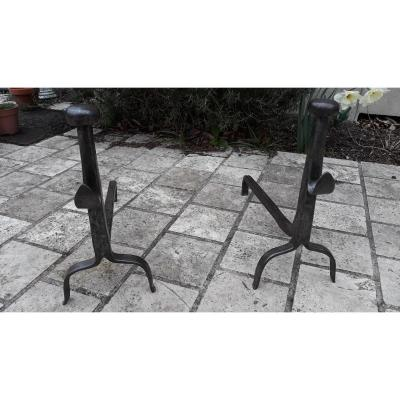 Pair Of Wrought Iron Andirons 18th Time
