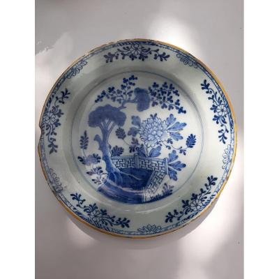 "18th Century Delftware Dish From The ""porcelain Ax"" Factory (1657-1804)"