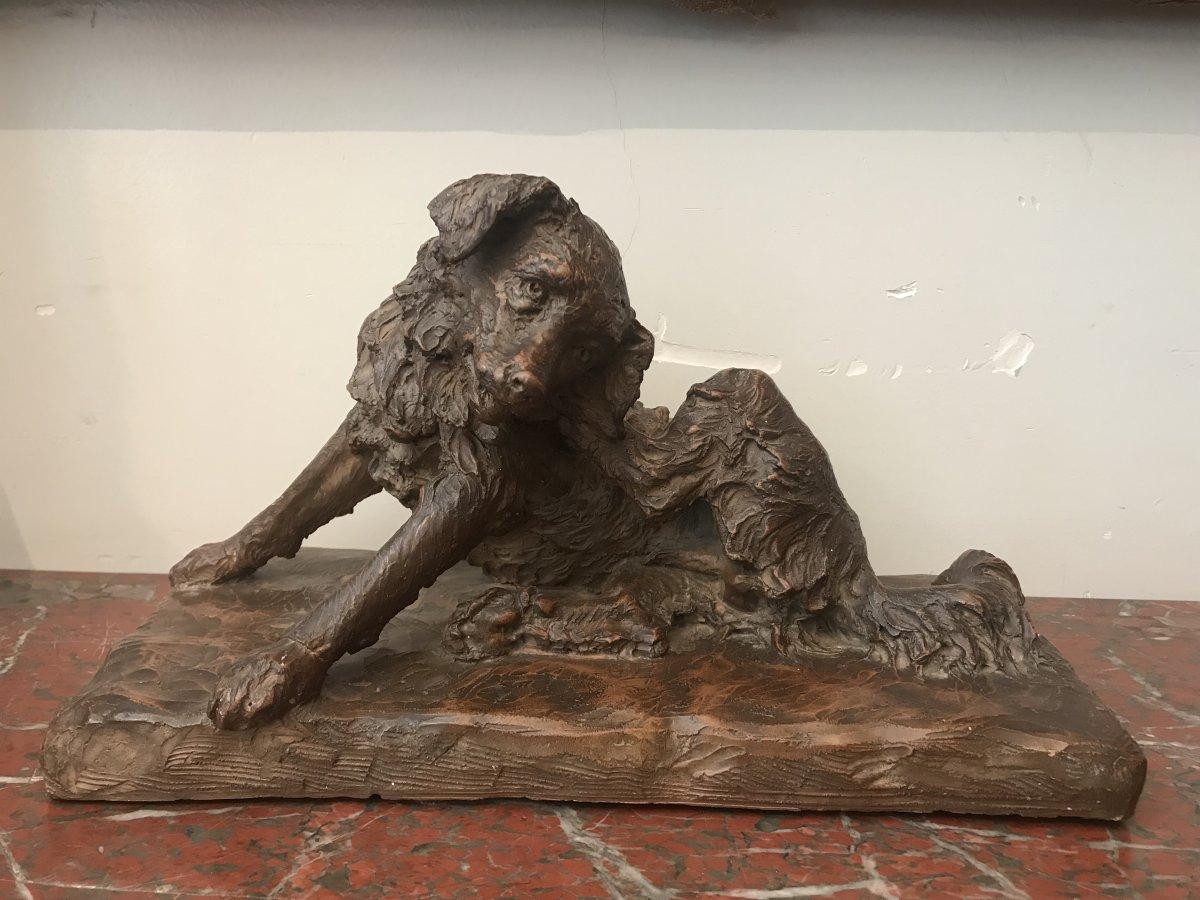Terracotta Dog Sculpture