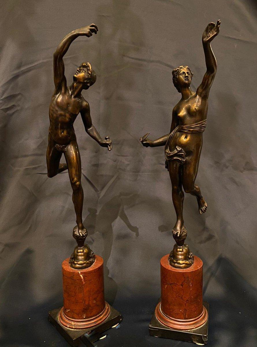 Paire De Statuettes En Bronze Fortune Et Mercure, XIXe Siècle