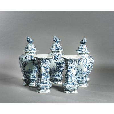A Set Of Five Delft Porcelain Vases, 18th-19th Century