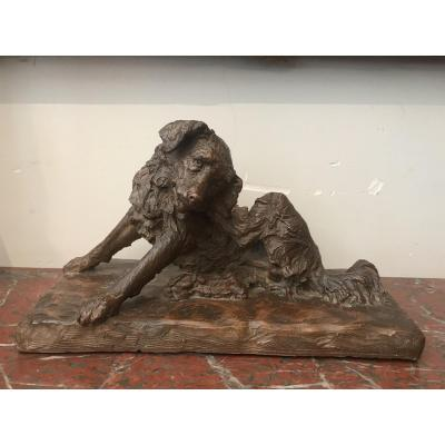 Terracotta Dog Sculpture