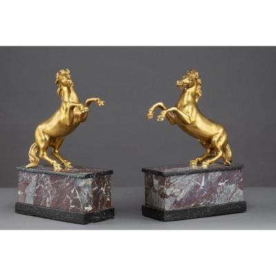 Paire De Chevaux En Bronze Doré, 19ème siècle