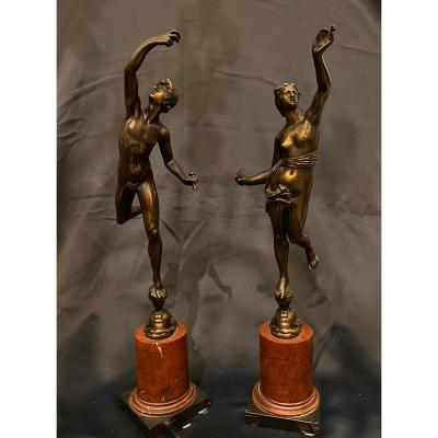 Pair Of Bronze Statuettes Of Fortune And Mercury , 19th Century