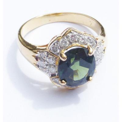 Bague Pompadour Saphir Vert Paon et Diamant Or et Platine