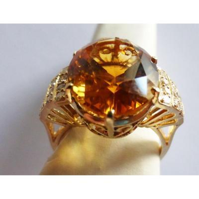 Bague Or 14k Ornée D'une Citrine de 9 Carats et 20 Diamants