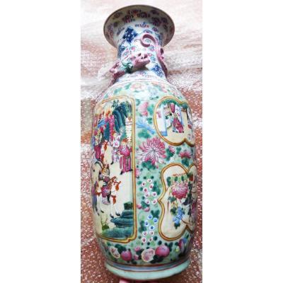 Vase Chinois Nankin Porcelaine Famille Rose Fin XIX ème