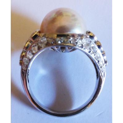 Bague Or Gris Diamants TA et Roses et Perle Mabe 11mm