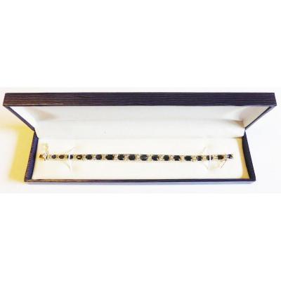Bracelet Or et Argent Serti De Saphirs