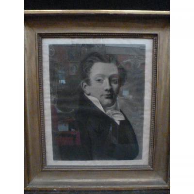 Portrait De Gentilhomme 19° Dessin