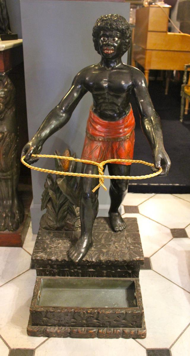 Porte Cannes En Bois Sculpté Polychrome Epoque Napoléon 3