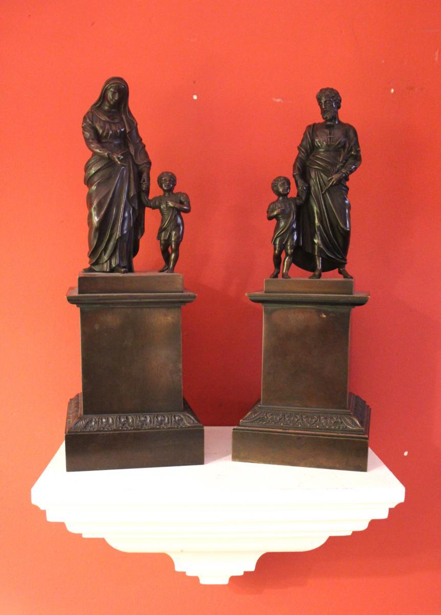 Paire De Personnage Religieux En Bronze . Epoque Charles X