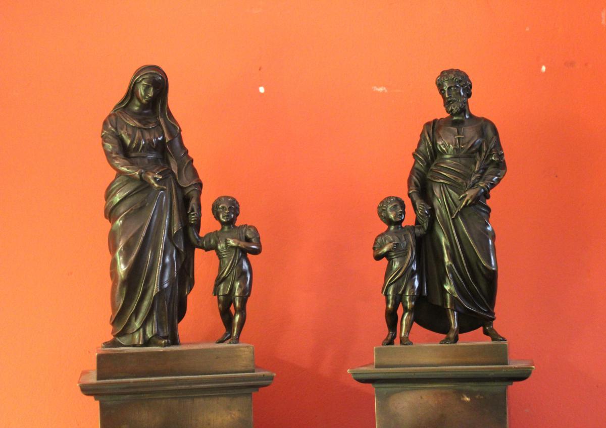 Pair Of Bronze Religious Character. Charles X-photo-2