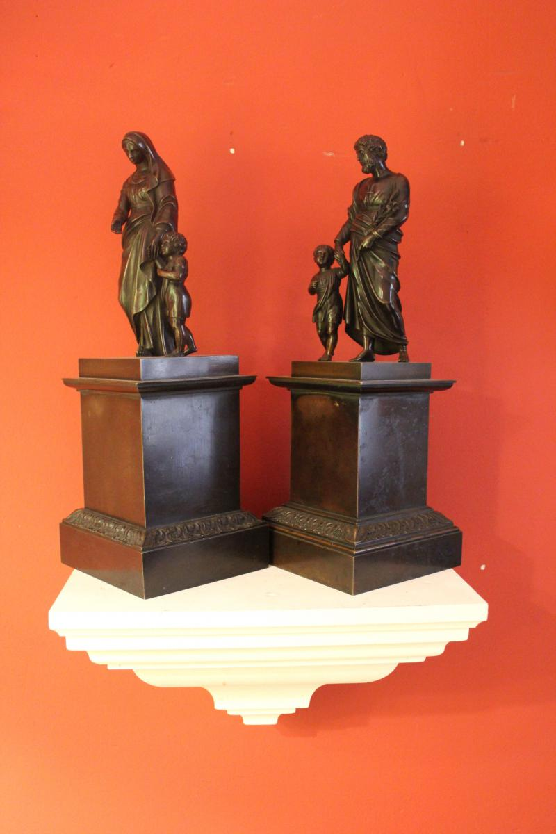 Pair Of Bronze Religious Character. Charles X-photo-4