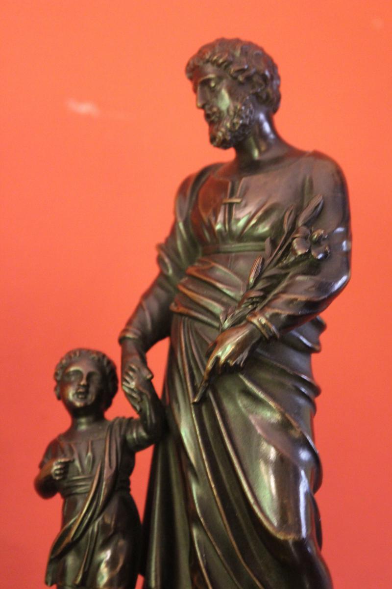 Pair Of Bronze Religious Character. Charles X-photo-1