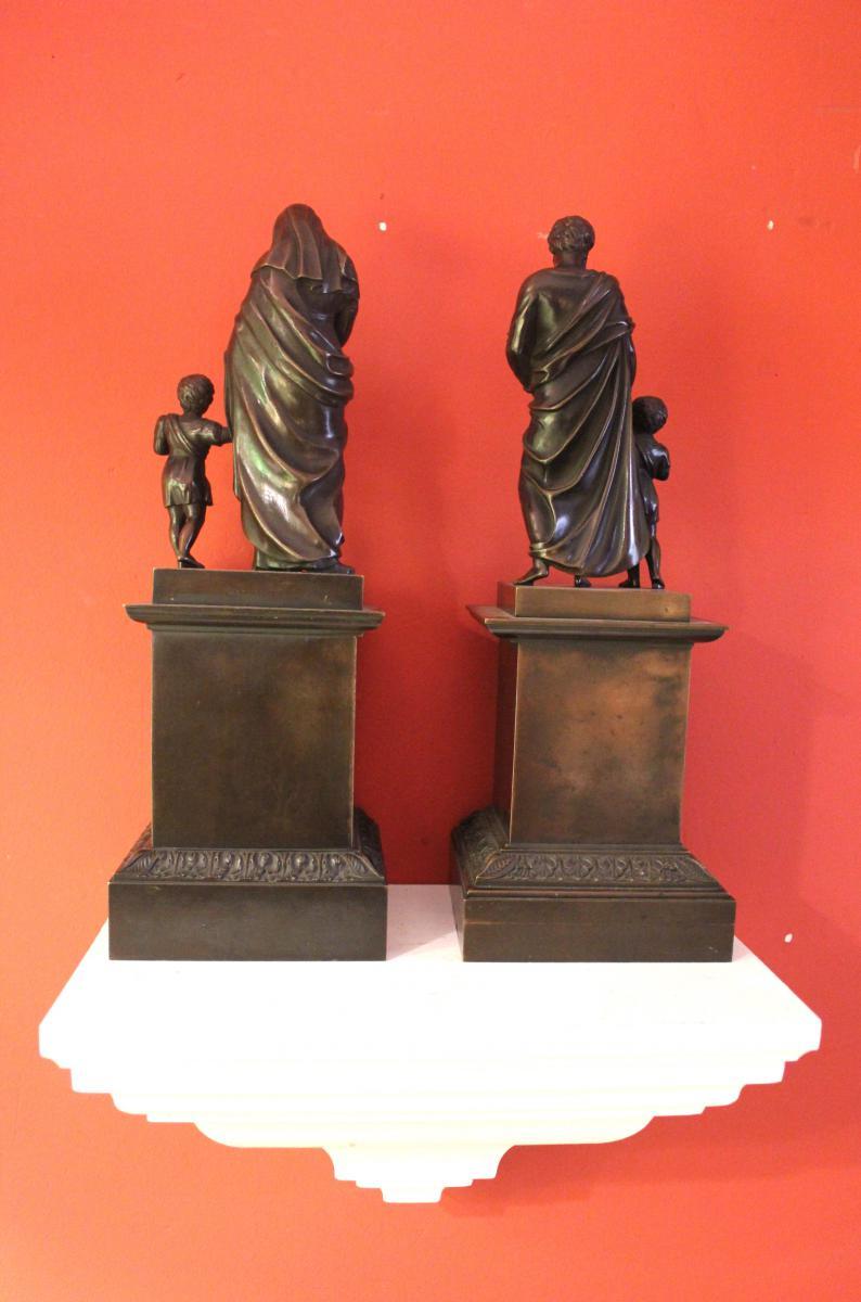 Pair Of Bronze Religious Character. Charles X-photo-3