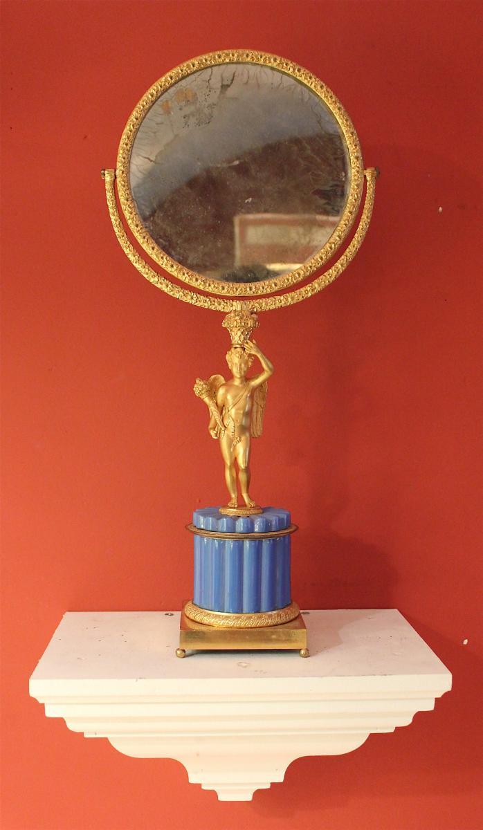 Important psyché d'époque Charles X En Bronze Et Opaline