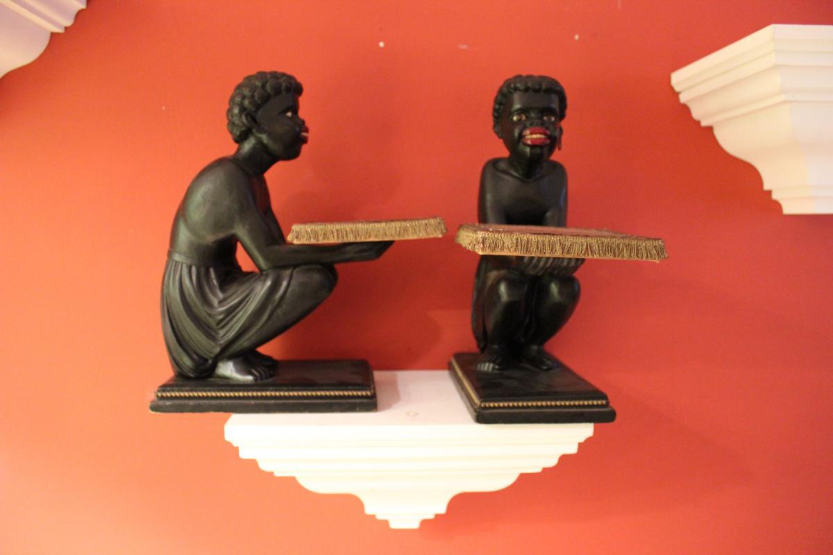 Paire De Nubiens En Bois Sculpté . XIXeme .epoque Napoléon 3