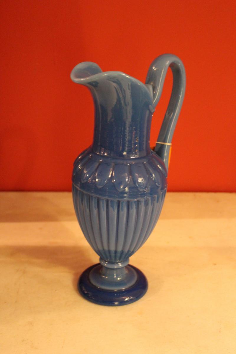 Aiguière En Opaline Bleu d'époque Charles X