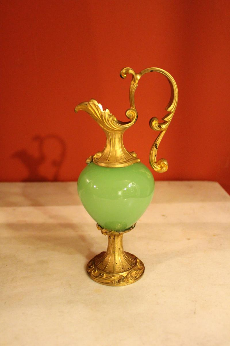 Aiguiere en bronze et opaline verte xixeme siecle for Decoration 19eme siecle