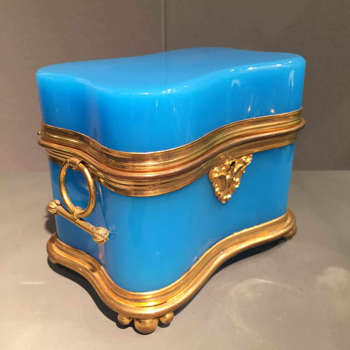 Coffret Opaline Bleu Milieu XIXeme époque Napoleon III.