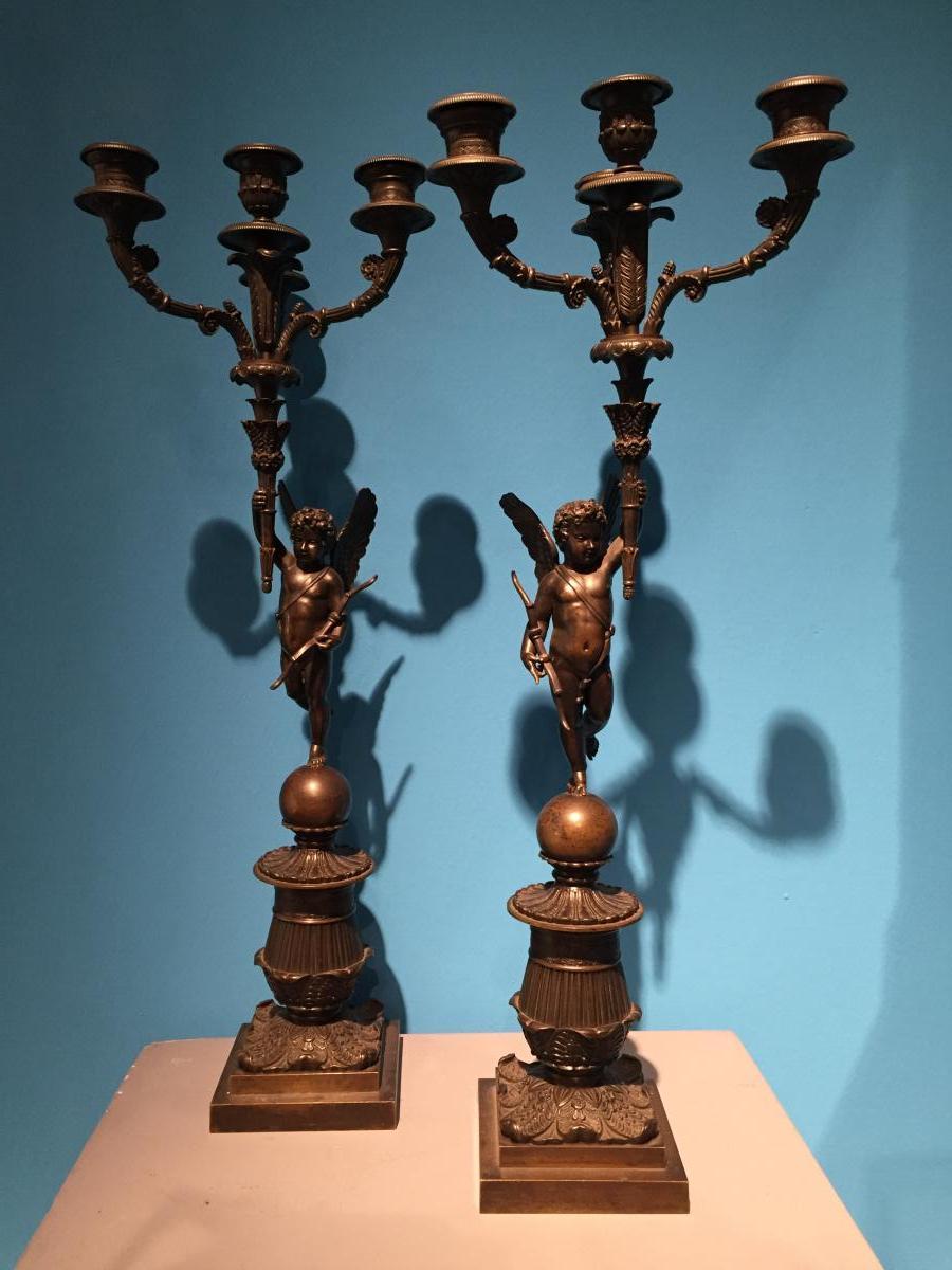 Paire De Candélabres En Bronze Ciselé Patiné XIXeme époque Charles X.