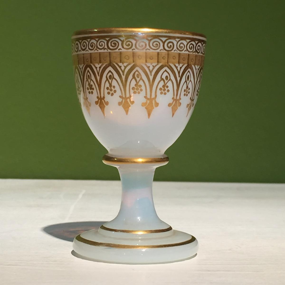 Coquetier En Opaline Décor Cathédrale XIXeme époque Charles X.