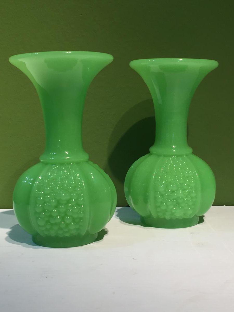 Pair Of Vases Opaline Green Manufacture Of St. Louis XIXth Napoleon III.