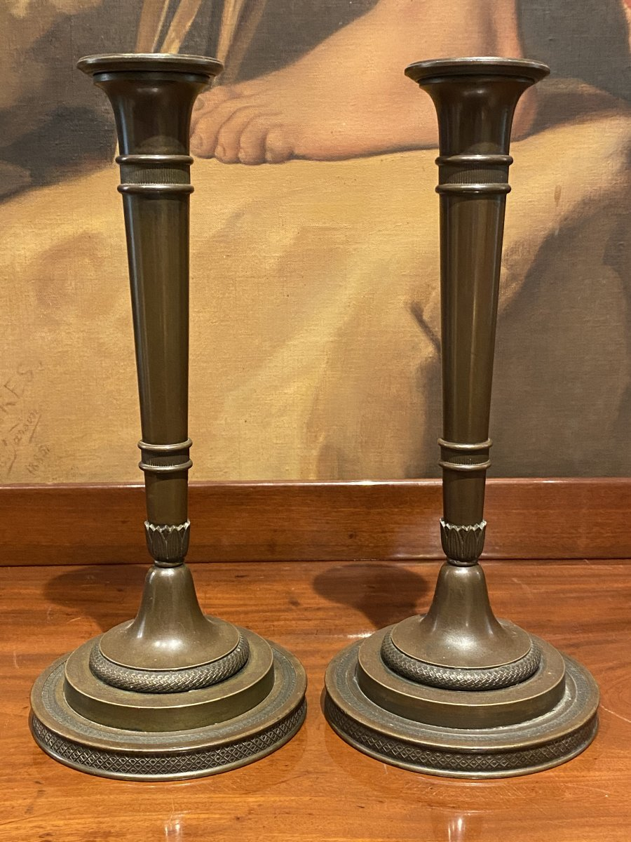 Pair Of Candlesticks In Chiselled Patinated Bronze XIXth Empire Period.