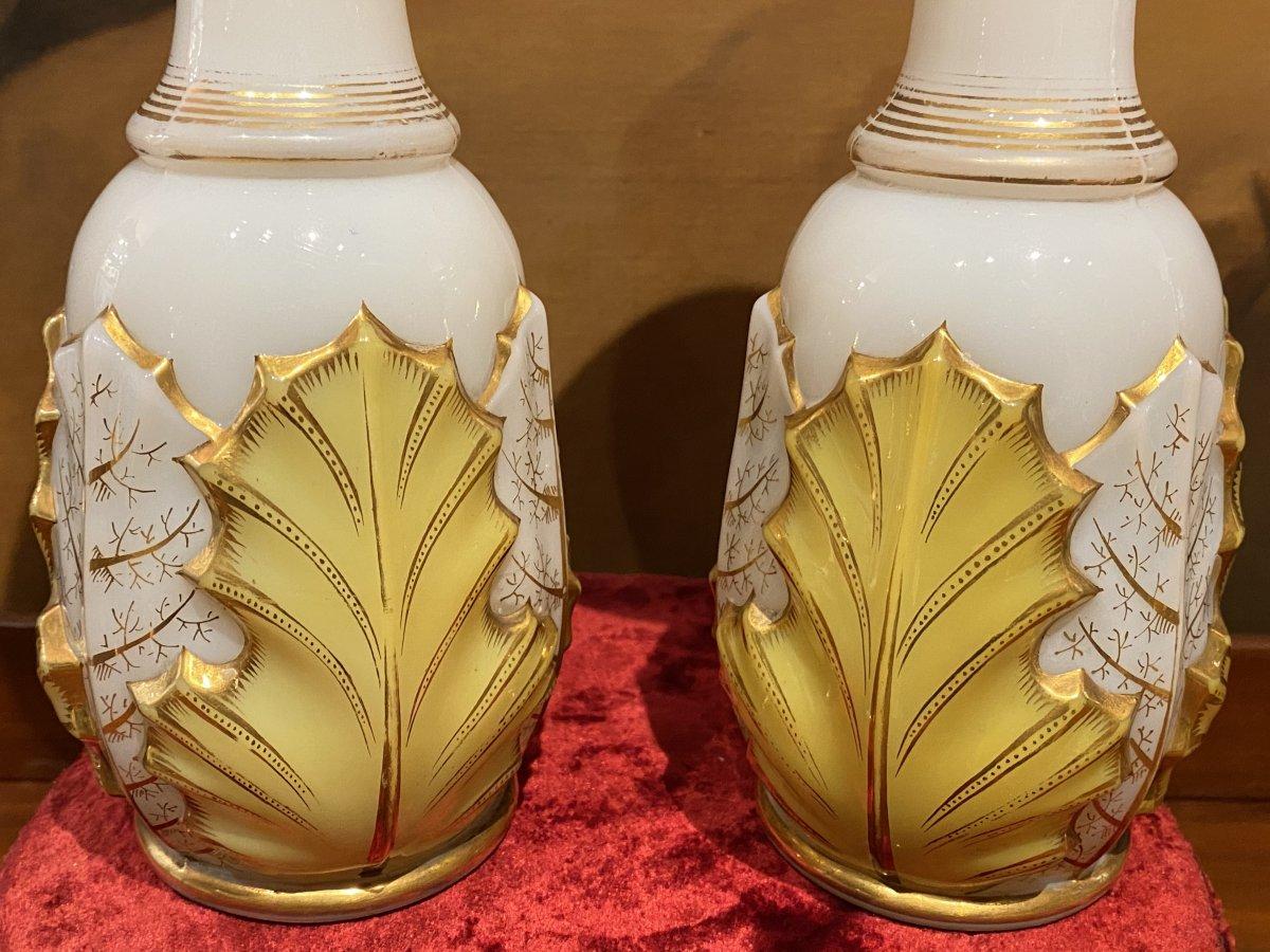 Rare Paire De Vases En Opaline Bicolore Blanc Et Jaune  Baccarat XIXeme Napoléon III.-photo-2
