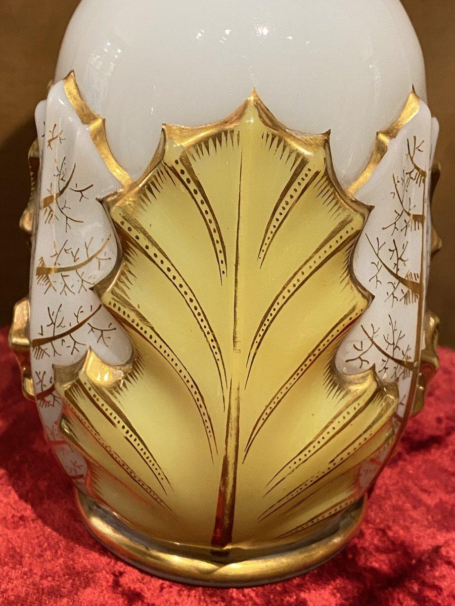 Rare Paire De Vases En Opaline Bicolore Blanc Et Jaune  Baccarat XIXeme Napoléon III.-photo-1