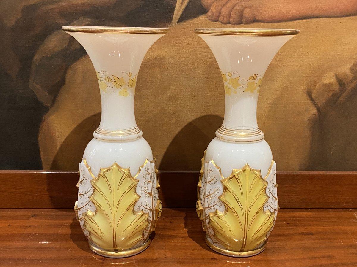 Rare Paire De Vases En Opaline Bicolore Blanc Et Jaune  Baccarat XIXeme Napoléon III.-photo-3