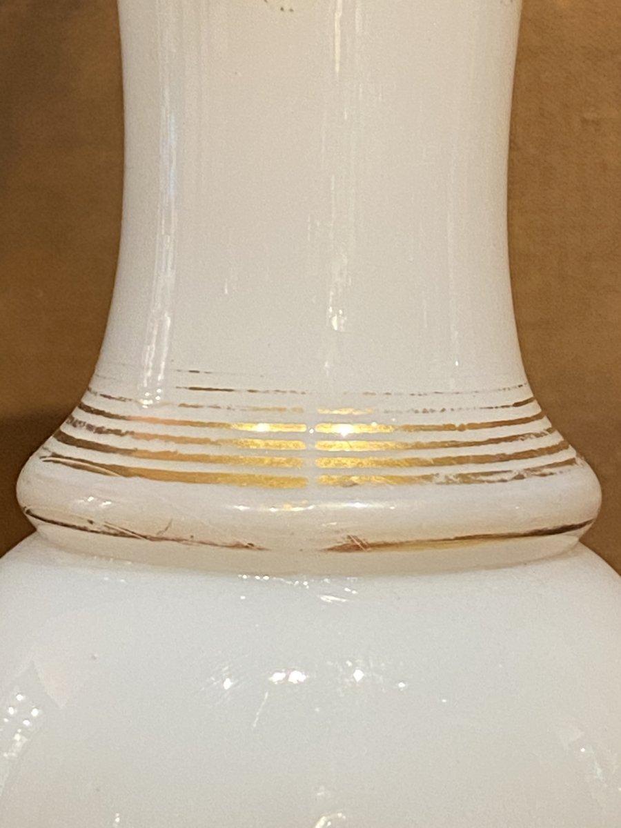 Rare Paire De Vases En Opaline Bicolore Blanc Et Jaune  Baccarat XIXeme Napoléon III.-photo-5