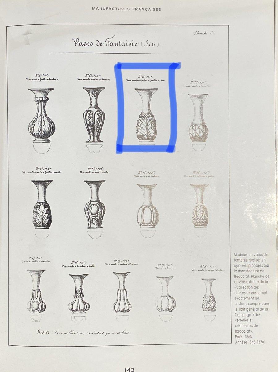 Rare Paire De Vases En Opaline Bicolore Blanc Et Jaune  Baccarat XIXeme Napoléon III.-photo-8