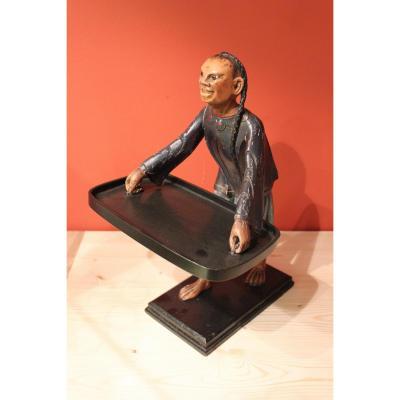 Serviteur En Bois Sculpté Polychrome , Décor Au Chinois. XIXeme