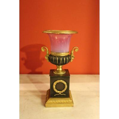 Vase forme Médicis bronze et opaline gorge-de-pigeon . XIXeme
